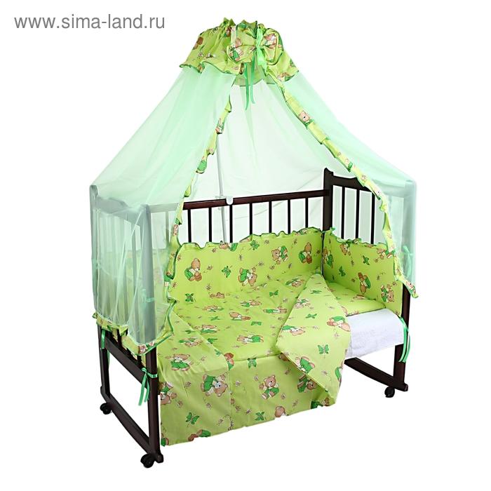 """Комплект в кроватку """"Мишки с мёдом"""" (4 предмета), цвет зелёный (арт. 1555)"""