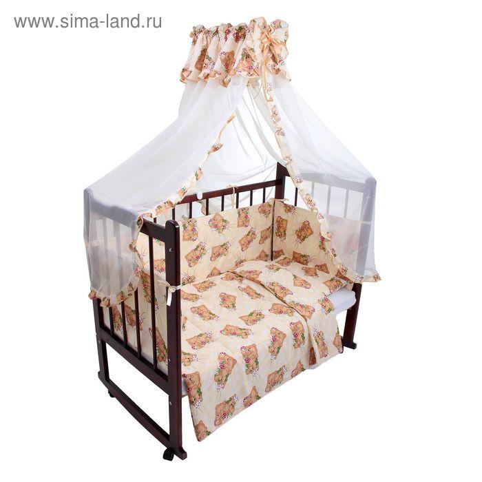 """Комплект в кроватку """"Спящие мишки"""" (4 предмета), цвет бежевый (арт. 1535)"""