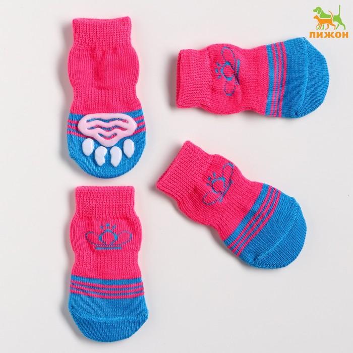 """Носки хлопковые нескользящие """"Корона"""", размер L (3,5/5 * 8 см), набор 4 шт"""