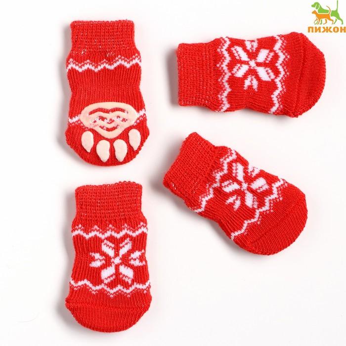"""Носки хлопковые нескользящие """"Снежинка"""", размер М (3/4 * 7 см), набор 4 шт, красные"""