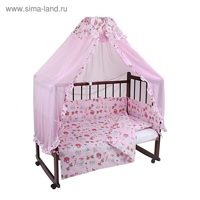 """Комплект в кроватку """"Зайчики"""" (4 предмета), цвет розовый (арт. 1515)"""