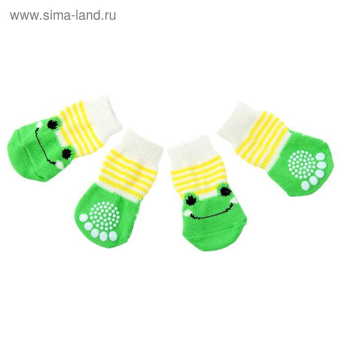 """Носки хлопковые нескользящие """"Лягушки"""", размер S (2,5/3,5 * 6 см), набор 4 шт, желто-зеленые 119167"""
