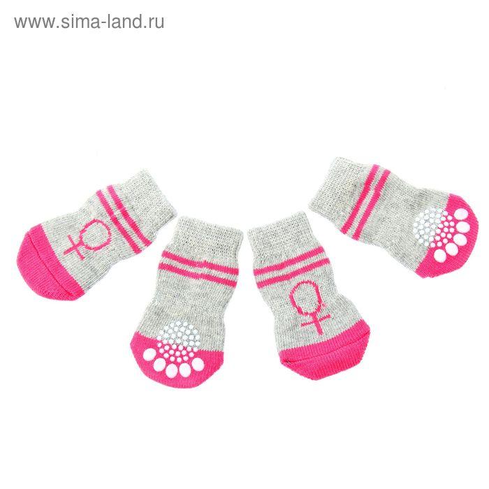 """Носки хлопковые нескользящие """"Девочка"""", размер L (3,5/5 * 8 см), набор 4 шт"""