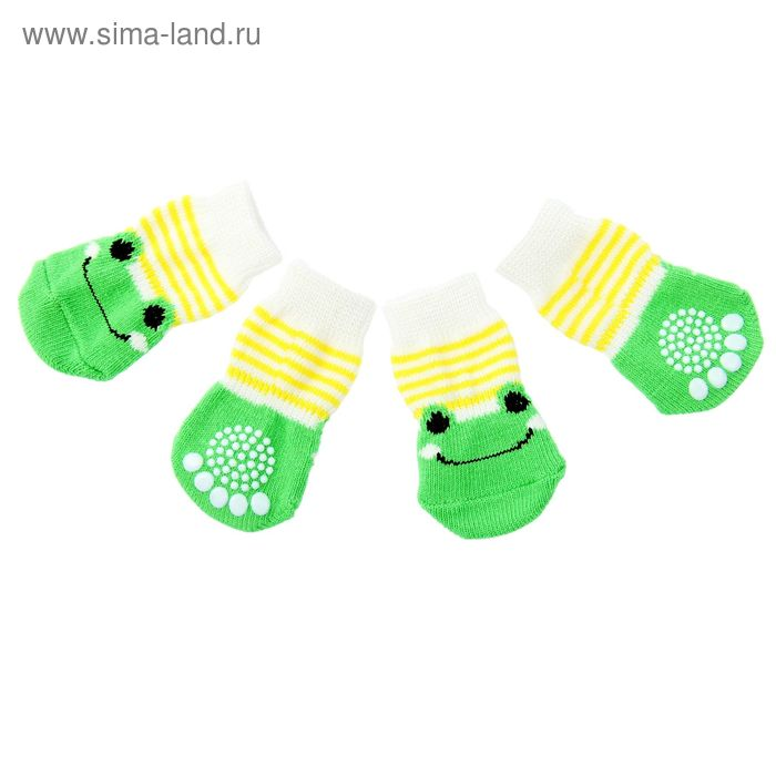 """Носки хлопковые нескользящие """"Лягушки"""", размер L (3,5/5 * 8 см), набор 4 шт, зелено-желтые"""