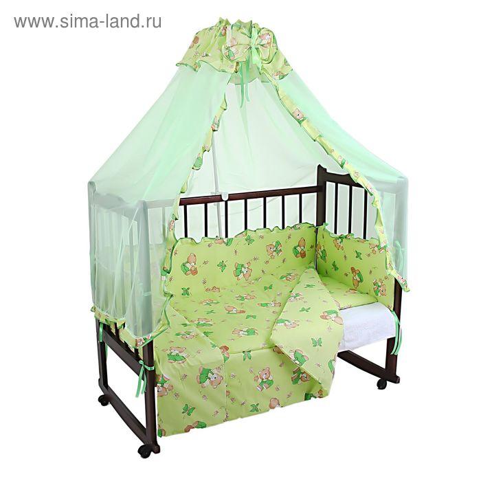 """Комплект в кроватку """"Мишки с мёдом"""" (4 предмета), цвет зелёный (арт. 1535)"""