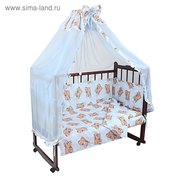 """Комплект в кроватку """"Спящий мишка"""" (4 предмета), цвет голубой (арт. 1525)"""