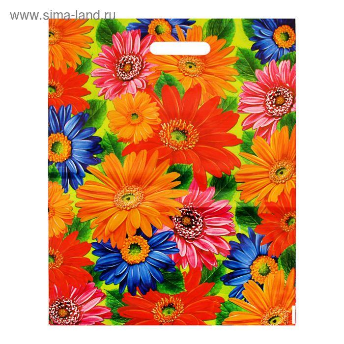 """Пакет """"Цветы"""", полиэтиленовый с вырубной ручкой, 38х47 см, 60 мкм"""