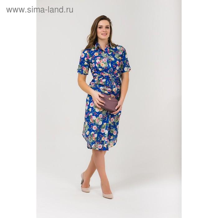 Платье женское, размер 52, рост 168, цвет электрик (арт. 17252 С+)
