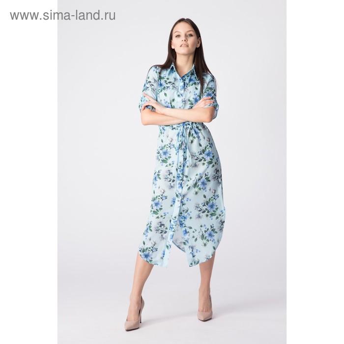 Платье женское, размер 50, рост 168, цвет голубой (арт. 17252 С+)