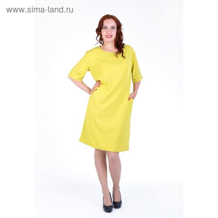 Платье женское, размер 52, рост 168, цвет лайм (арт. 17249 С+)