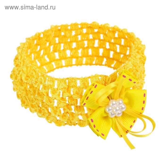 """Повязка для волос """"Выбражулька"""" 14,5*4,5 см цветок желтый"""