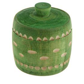 Бочонок для мёда и сыпучих продуктов 100 мл, 70*65 мм, зелёный резной, липа Ош