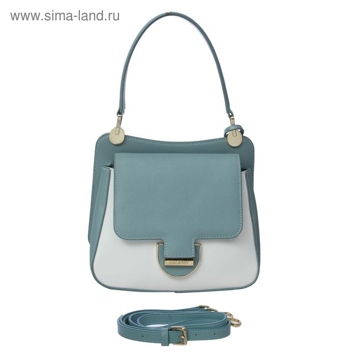 Сумка женская на молнии, 1 отдел, 1 наружный карман, белый/синий