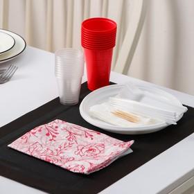 Набор 'На природу': 10 тарелок белых d=22 см, 10 стаканов цветных 200 мл, 10 вилок белых Ош