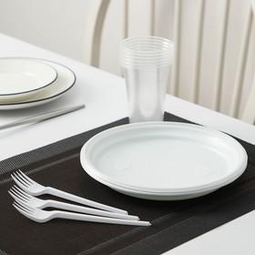 Набор 'Пикник': 6 тарелок d=20,5 см, 6 стаканов 200 мл, 6 вилок столовых Ош