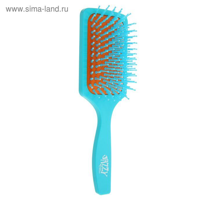 Расчёска массажная широкая, цвет голубо-оранжевый