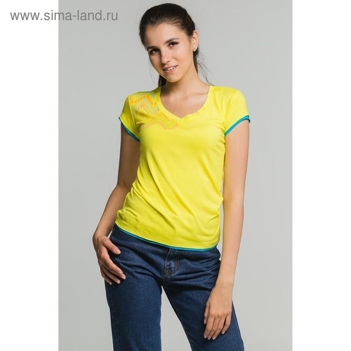 Футболка женская, размер 52, цвет жёлтый (М-376/1-10)