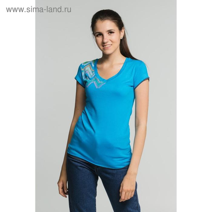 Футболка женская, размер 46, цвет бирюзовый (М-376/1-10)