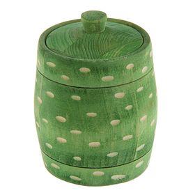 Бочонок для мёда и сыпучих продуктов 300 мл, 95*125 мм, зелёный резной, 'Точки' липа Ош
