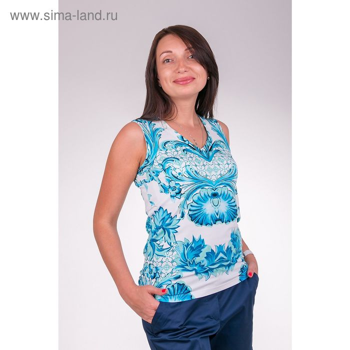 Майка женская LMV6104 цвет голубой , размер  S(44)