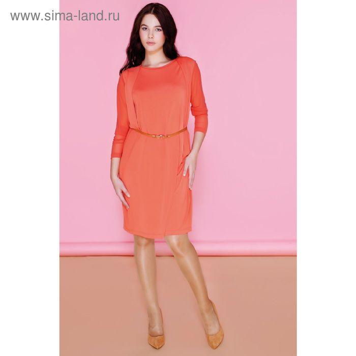 Платье женское DR6021 С+, цвет оранжевый, размер  XXXL(54)