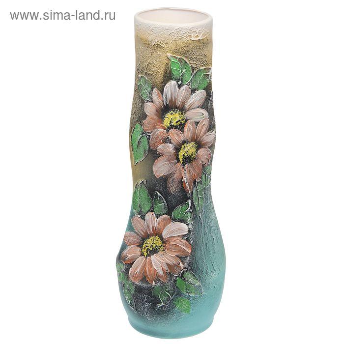 """Ваза напольная """"Свеча"""" акрил, цветы, золотисто-голубая"""