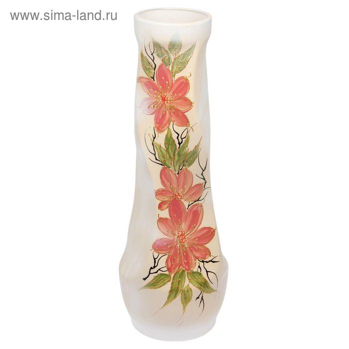 """Ваза напольная """"Свеча"""" ангоб, цветы"""