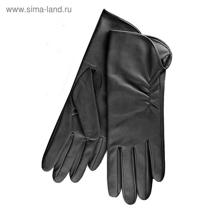 Перчатки женские, модель №119, материал - овчина, подклад - трикотаж, р-р 17, чёрные