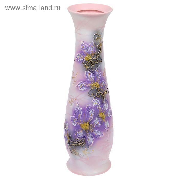"""Ваза напольная """"Глория"""" акрил, цветы, сиреневая, микс"""