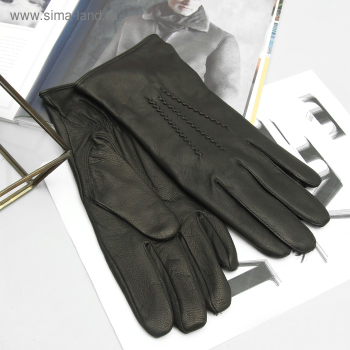 Перчатки мужские, модель №32, материал - козлина, подклад - полушерстяной, р-р 22, чёрные