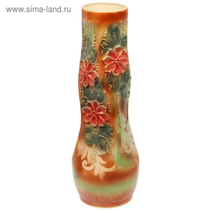 "Ваза напольная ""Свеча"" глазурь, лепка, цветы, микс"