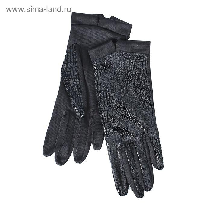 Перчатки женские, модель №1108у, материал - трикотаж, без подклада, р-р 17, чёрные