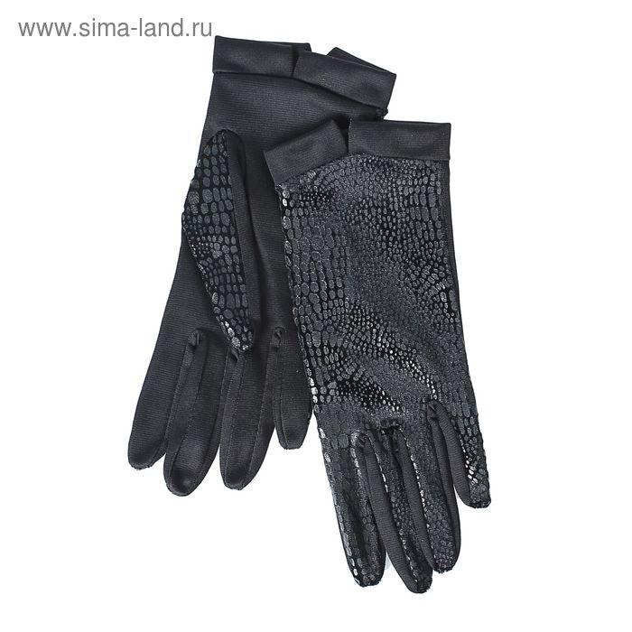 Перчатки женские, модель №1108у, материал - трикотаж, без подклада, р-р 18, чёрные