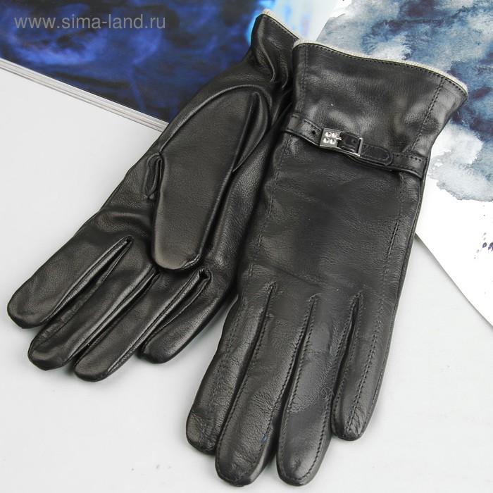 Перчатки женские, модель №412, материал - овчина, подклад - чистошерстяной, р-р 18, чёрные