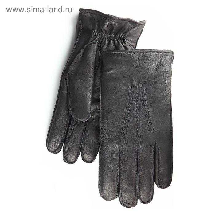 Перчатки мужские, модель №64, материал - козлина, подклад - ворсовый трикотаж, р-р 22, чёрные