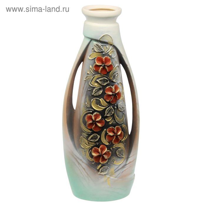 """Ваза напольная """"Венеция"""" глазурь, лепка, цветы"""