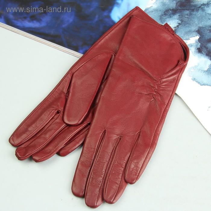 Перчатки женские, модель №119р, материал - овчина, подклад - трикотаж, р-р 17, бордовые
