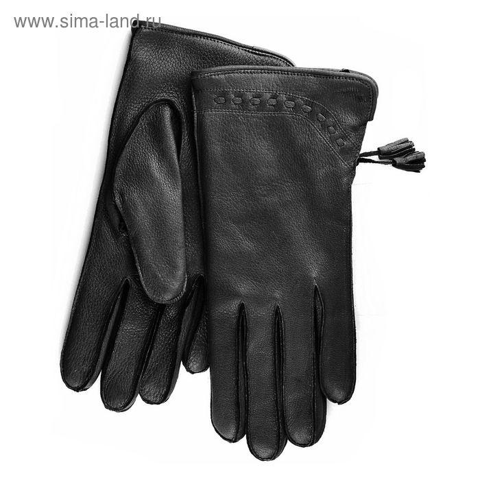 Перчатки женские, модель №170, материал - олень, подклад - полушерстяной, р-р 18, чёрные