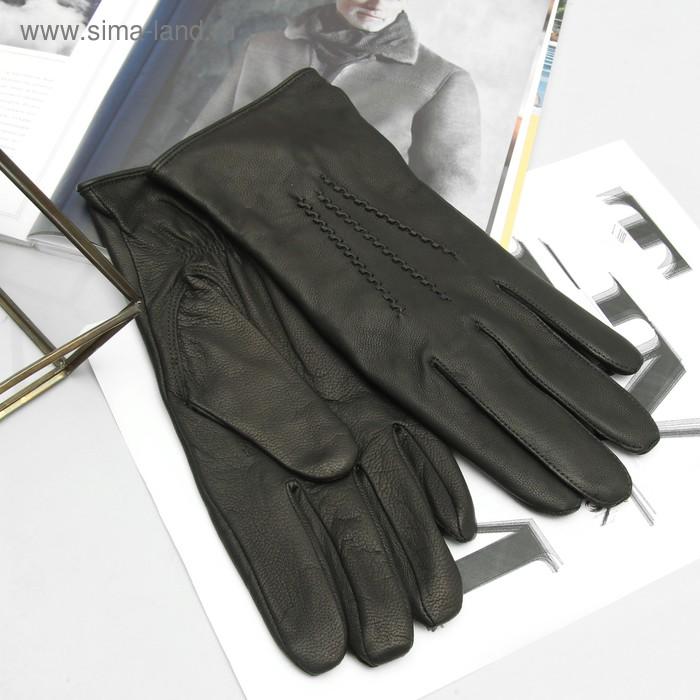 Перчатки мужские, модель №32, материал - козлина, подклад - полушерстяной, р-р 24, чёрные