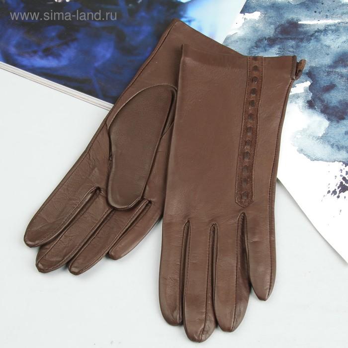 Перчатки женские, модель №420р, материал - овчина, без подклада, р-р 18, коричневые