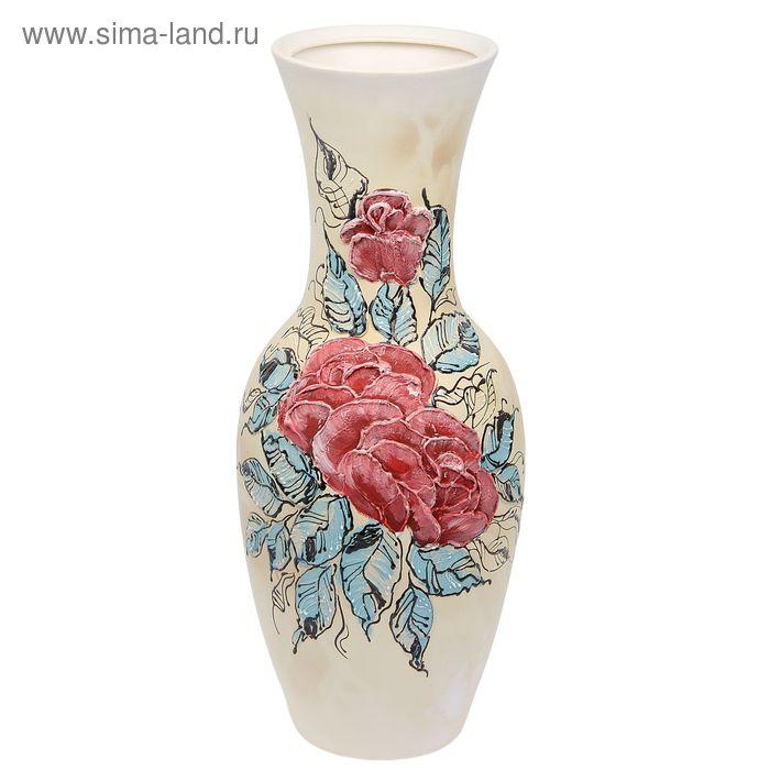 """Ваза напольная """"Татьяна"""" ангоб, цветы"""