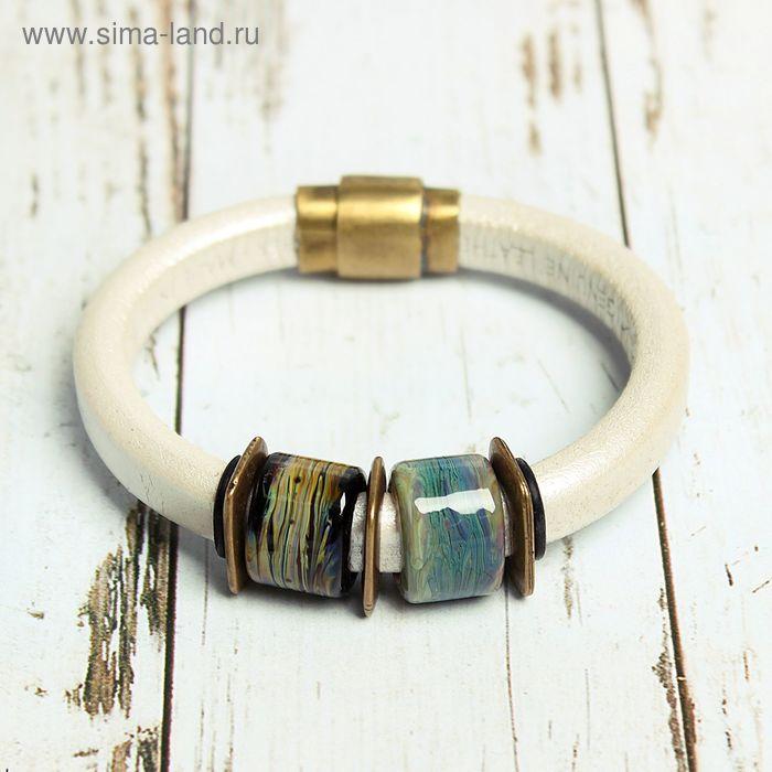 """Браслет ручной работы """"Муранское стекло"""", цилиндры, цвет зелёно-синий в золоте"""