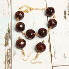 """Гарнитур 2 предмета ручная работа: серьги, браслет """"Муранское стекло"""" шар, цвет бордовый"""