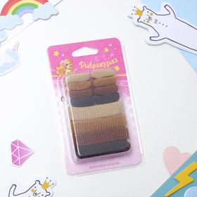 """Резинки для волос """"Махрушка"""" (набор 12 шт.), ассорти, шоколад"""