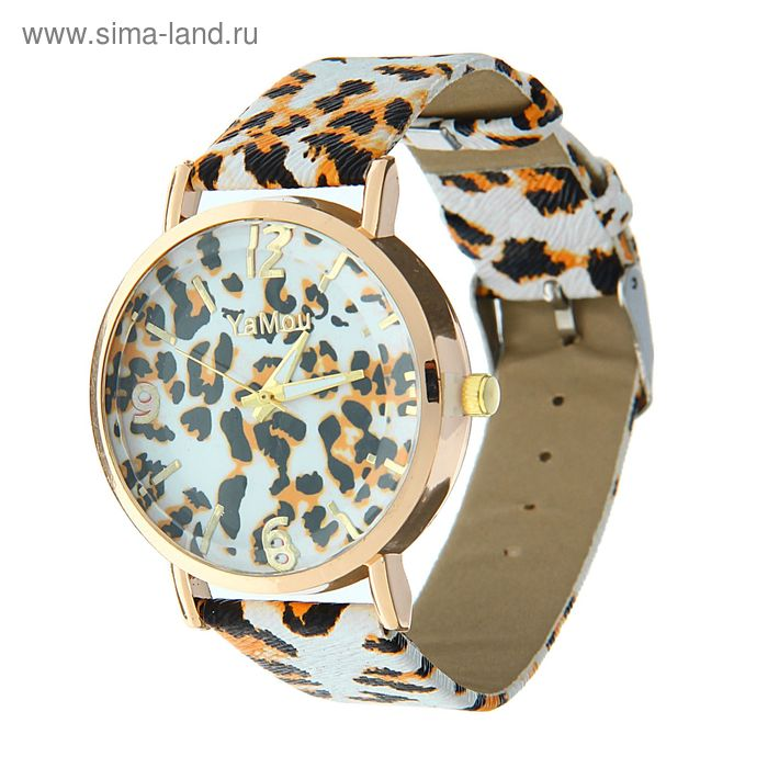 Часы наручные Ya Mou, принт под леопарда на циферблате и ремешке