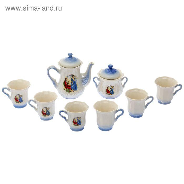 "Чайный сервиз ""Ажур"" голубой, Мадонна, 8 предметов: чайник 1 л, сахарница, 6 кружек 0,25 л"