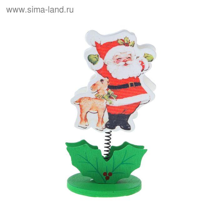 """Визитница - прищепка """"Дед Мороз с оленёнком"""""""