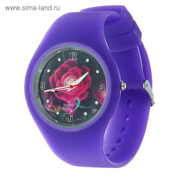 Часы наручные женские, корпус и ремешок силикон, цветной циферблат микс  фиолетовые