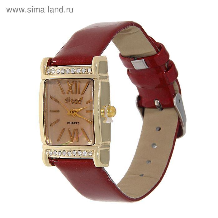 Часы наручные женские, квадратный корпус, римские цифры, стразы, ремешок глянец, красный