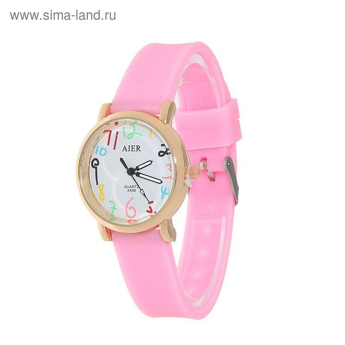 Часы наручные женские, цветные цифры цифры, ремешок силиконовый розовый